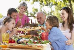 Outdoor family dinner