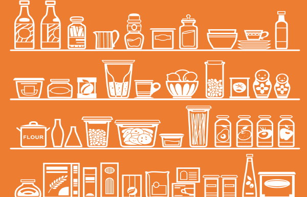 Pantry with orange background