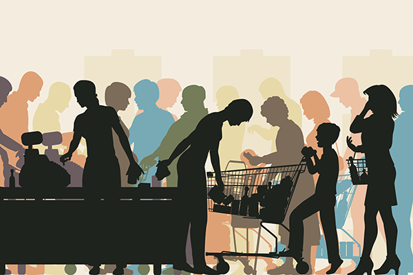Shoppers silhouette