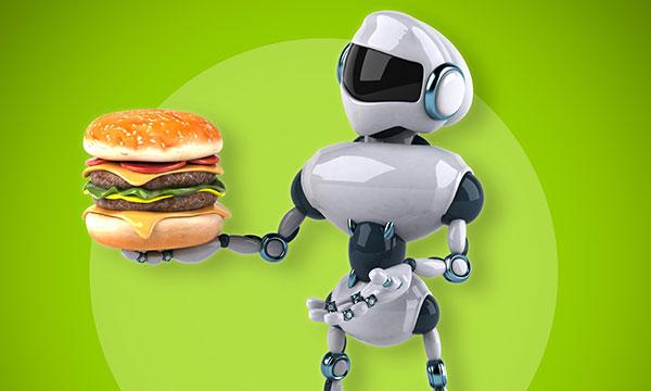 Small robot serving burger